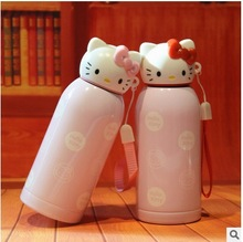 New Hello Kitty Vacuum Thermos Cup Cartoon Cup With Strap Water Kettle Kids Insulated Flasks Mug Thermo Flasks Drinkware Bottle(China)