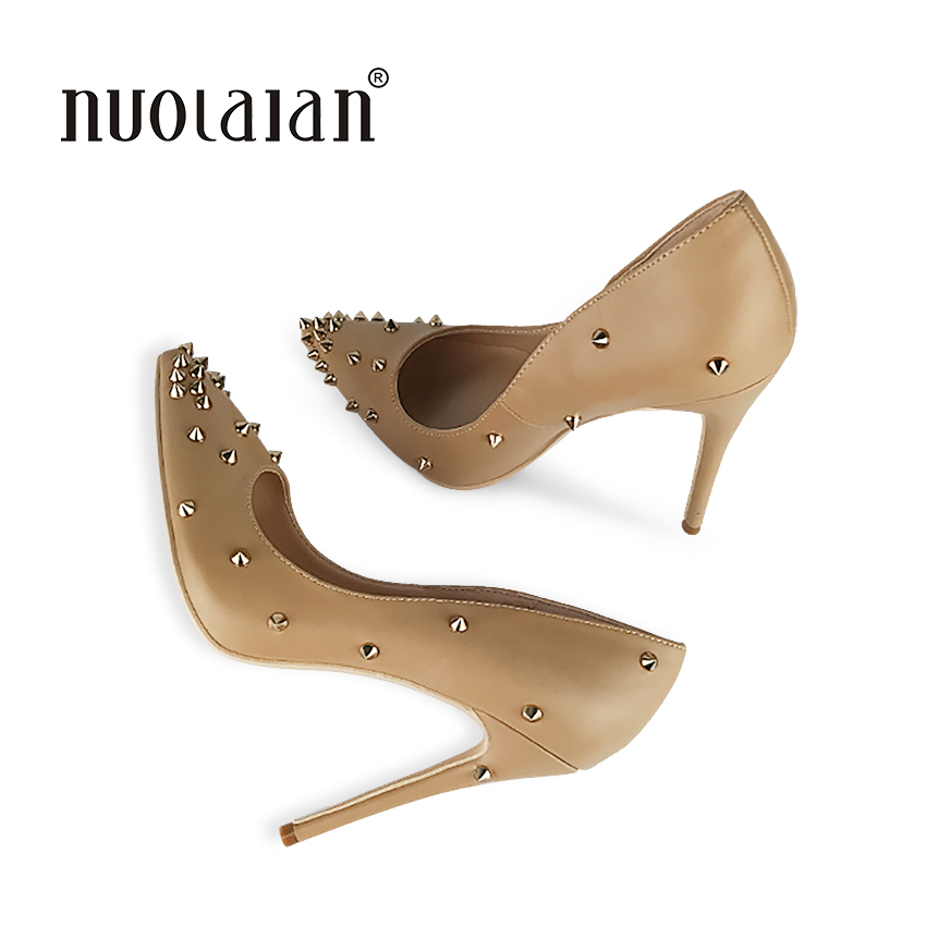 Stilettos Womens Shoes High Heels 12CM High Heels Rivets Shoes Pumps Women Heels Sexy Pointed Toe Wedding Shoes For Woman<br>