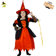 High Quality Girls Little Witch Costumes Red Beauty Enchantress Outfit Kids Sorceress Decoration Sets for Party Kids Girls(China)