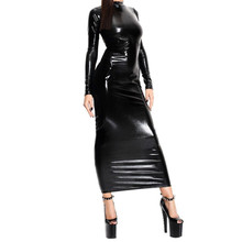 Buy Abbille New Hot Sexy Black Long Sleeve Faux Leather Dress Backless Latex Bodycon Women Dress Catsuit Halloween Clubwear Costume