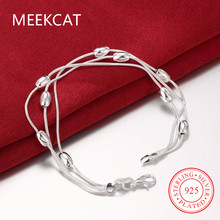 MEEKCAT 925 stamped silver plated 20cm beads chains Three lines bracelets bangles pulseiras es Plata Women's Holiday gift