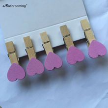 SALE: Purple Passion -wooden Heart Clothespins, mini set of 10 for Packaging Paper Gift Favor Bags Accessories Baby Shower Girls(China)