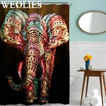 Polyester Painting Elephant Shower Curtain Hooks Set Bath Shower Panel Sheer Bath Cover Home Bathroom Screen Decorative Textiles(China)