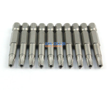 "10 Pieces Magnetic Star Screwdriver Bit S2 Steel 1/4"" Hex Shank 50mm Long (T25)"