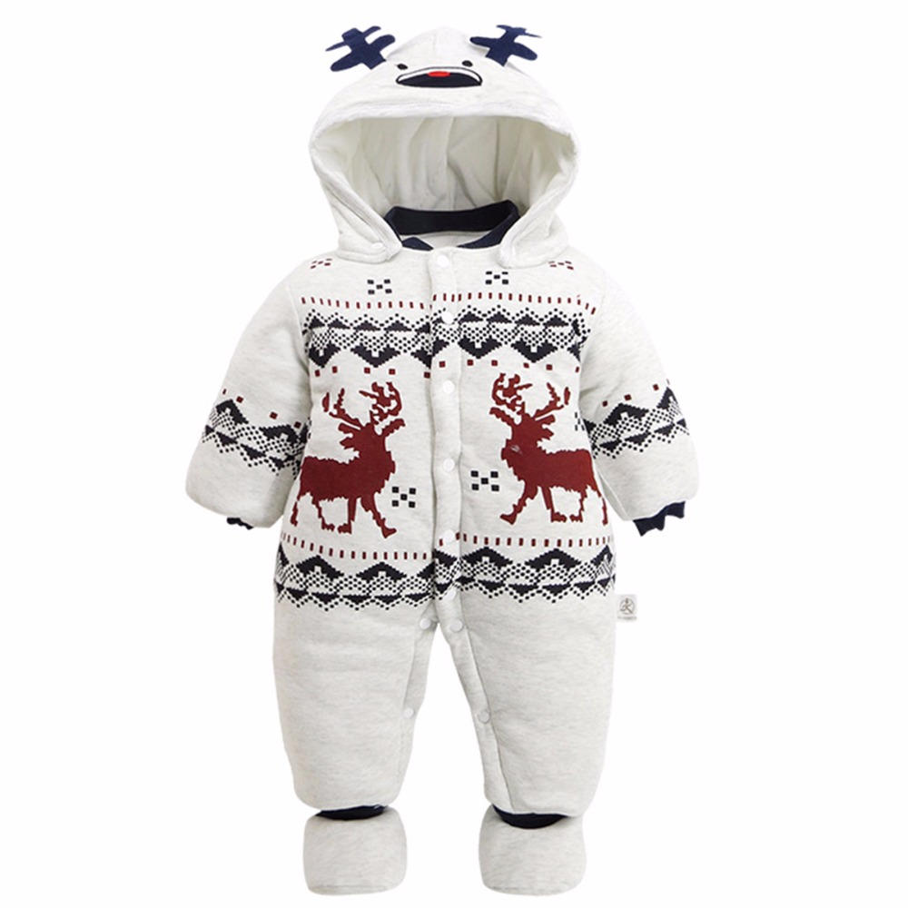 Baby Boys Girls Winter Romper Infant Christmas Deer Jumpsuit Warm Hooded Snowsuit New Year Costume For Newborn Christmas Boy<br>