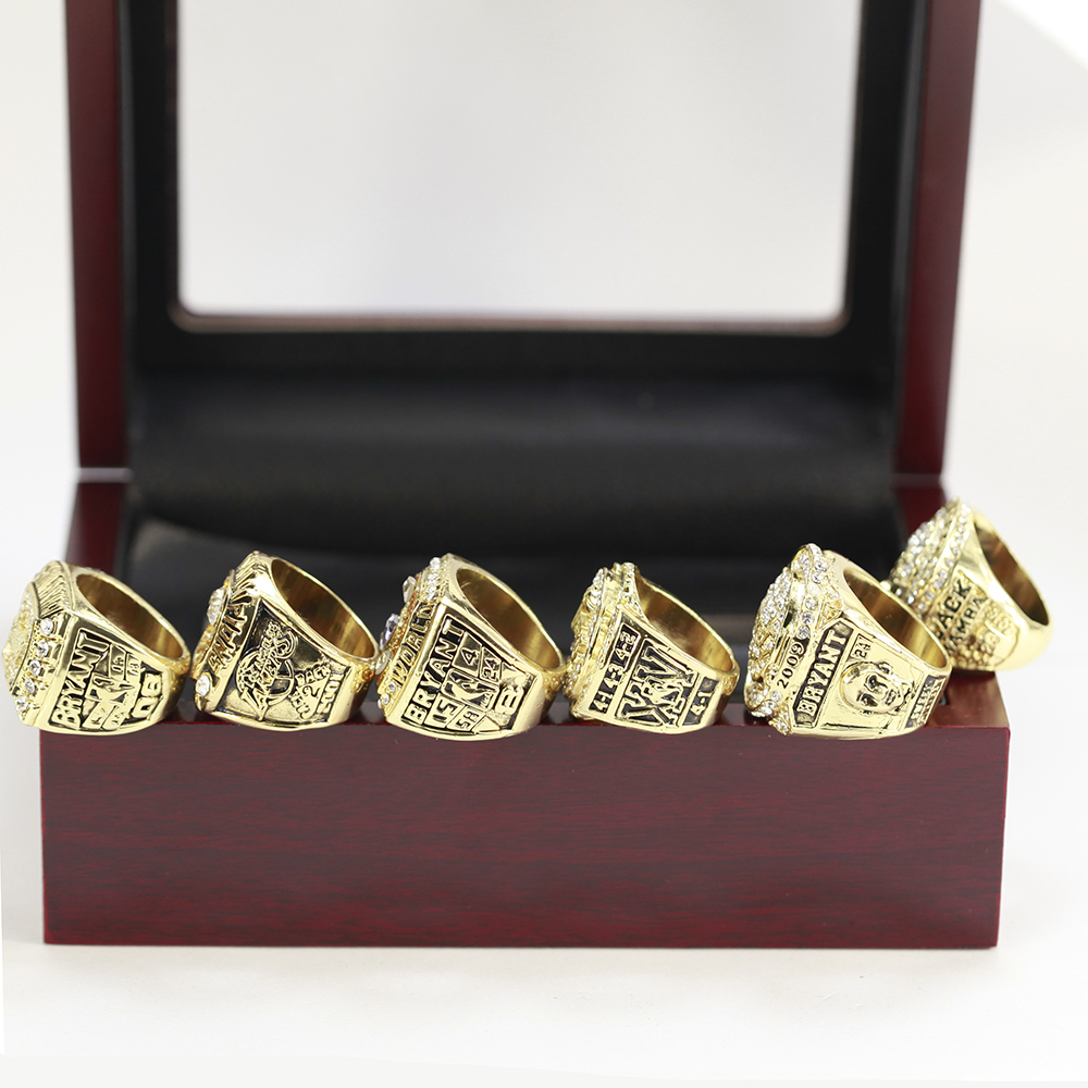 2000 2001 2002 2009 2010 2016 LA LAKERS BRYANT CHAMPIONSHIP RING, 6 PCS RINGS A COLLECTIONS WITH WOODEN BOX