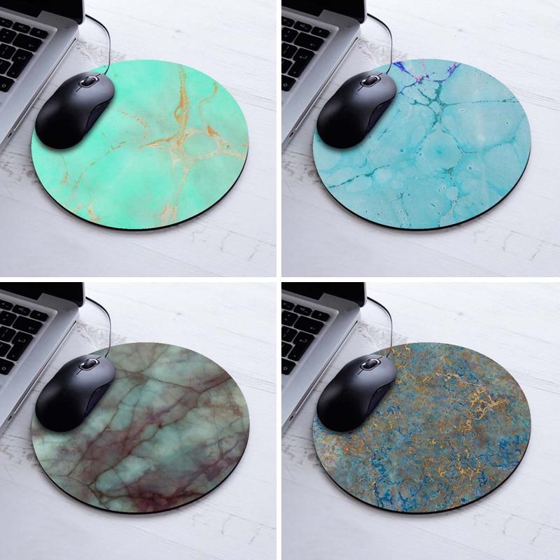 Popular Mint Gold Marble Design Round Mousepad Rub...