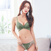 Buy Wasteheart 2017 Women Fashion Green Lace Bra Sets Cross Straps Bralette Soft Cotton Panties Push Underwear Sexy Lingerie Sets