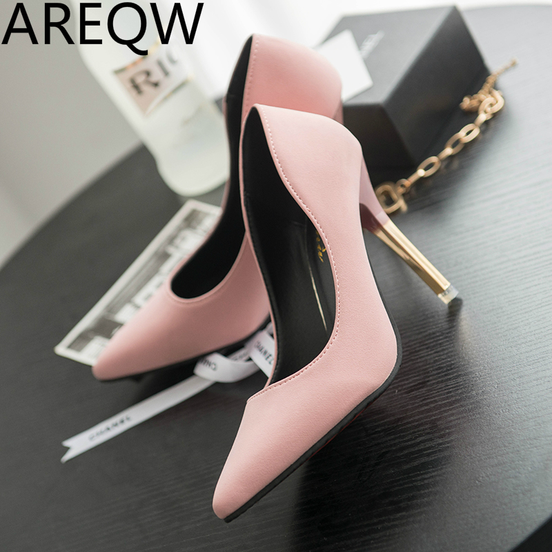 AREQW 2017 Spring Korean Version of The Nightclub Black Sexy Shoes Asakushi Pink Ladies High Heels with Thin Pointed Shoes<br><br>Aliexpress