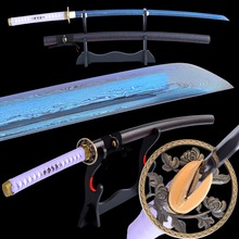 Shijian Swords Damascus Sharp Samurai Katana Folded Steel Electropalted Blue Blade Full Tang Cut Tree Japanese Sword Hand Forged