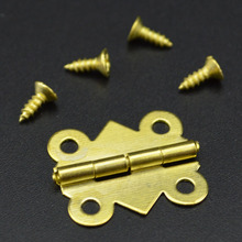 wholesale Fashion Design 5/10/20X Vintage Brass Color Iron Mini Butterfly Butt Hinges Cabinet Drawer Jewelry Box DIY Repair
