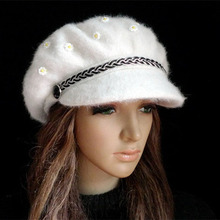 2016 High Quality Winter Warm Casual Style Women rabbit hair Beret Knitted Hats Skullies Girls fur Beanies Peaked cap