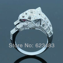 0.8ct . &Ruby SOLID 14K WHITE GOLD Engagement Leopard Fashion Ring