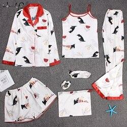 Пижамы с ремешком, пижамы, женские, 7 шт., розовые пижамы, наборы, атласное шелковое белье, домашняя одежда, пижамы, пижамный комплект, пижамы д...