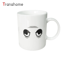 Transhome Hot Sale Changing Color Magic Mug White Colour Tired Face Heat Reactive Ceramic Coffee Tea Milk Mug Birthday Gift