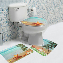 3PCs/Set Bathroom Non-Slip Soft Flannel Bath Mats Sea Beach Pedestal Rug Lid Toilet Cover Carpet Pedestal Bathroom Set BM0606