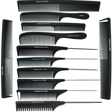 12pcs/ Lot ! 2017Hot Sale Salon Hairdressing Carbon Antistatic Barbers Black Hair Styling Combs Free Shipping