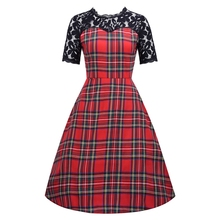 Vintage Hepburn Style 50s Classic Red Scottish Plaid Pattern Sexy Lace Piecing See-Through Slim Waist Flare Patchwork Dress(China)