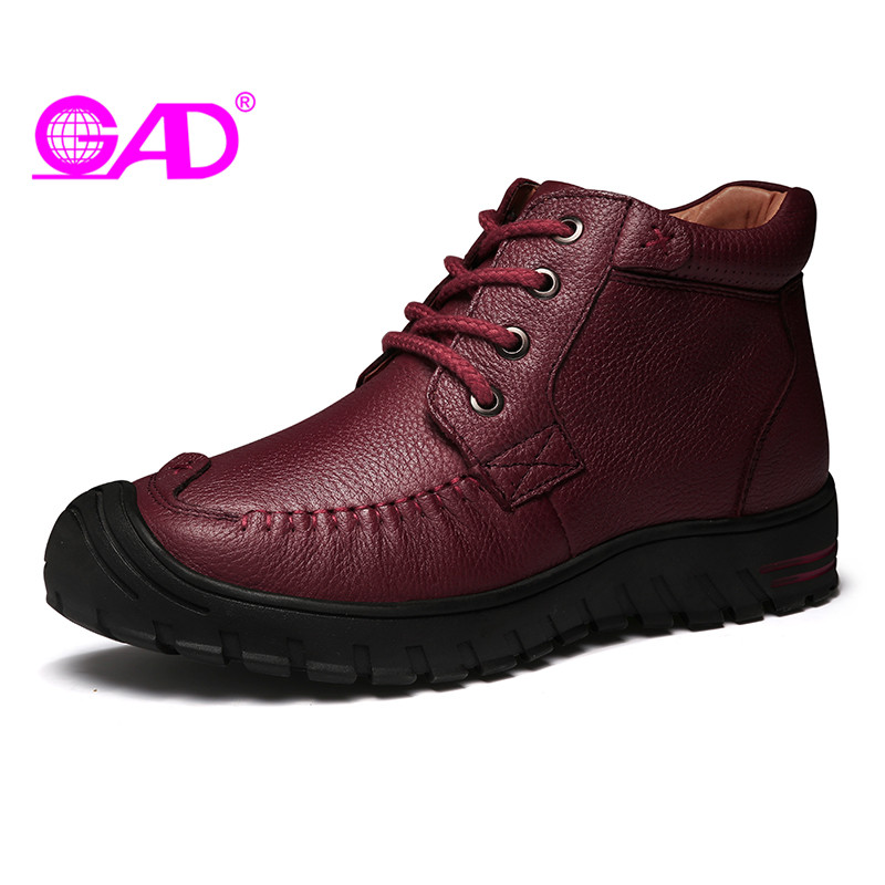 GAD Genuine Leather Women Casual Shoes Autumn/Winter New Arrival Round Toe Lace-up Women Leather Shoes High Top Flat Shoes Women<br>