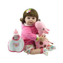 20'' Reborn Kids Soft Silicone Baby Stuff Dolls With Curved Hair Realistic Reborn Baby Girl 50 cm For Children Birthday Gifts(China)