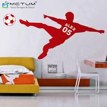 Football Wall Sticker Personalized Name & Number Soccer Ball Poster Vinyl PVC Decal Art Children Wall Stickers Kids Room Decor