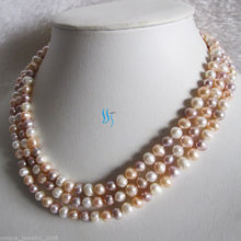 "54"" 7-8mm Multi Color Freshwater Pearl Necklace White Peach Pink Lavender"