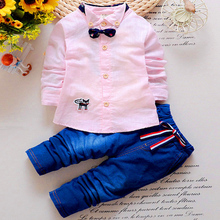 Children'S Clothing Shop Boy Wearing  Autumn New Fashion Style Children'S Clothing Bow Long-Sleeved Shirt+Trousers Boy'S Clothes
