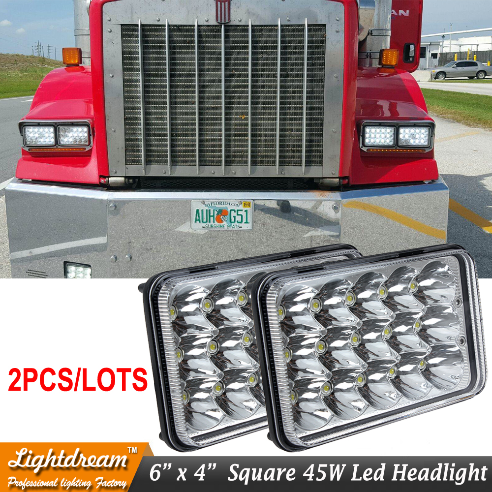 Pair of 6x4 4x6 45W led sealed headlamp with High/Low beam H4 plug 12v 24v led truck light used for truck Kneworth Free shipping<br><br>Aliexpress