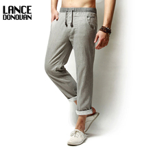 New 2017 Casual Summer Linen Pants Men Solid Thin Breathable Joggers Sweatpants Straight Trousers