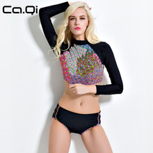 CA.QI Sweet Sexy Girl Print Women Swimwear Swimsuit Long Sleeve Two Piece Bathing Suits Diving Surfing Rash Guard Well Sell