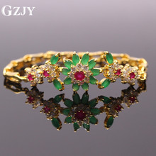 GZJY Top Quality Created Emerald Bracelet For Women New Trendy Red CZ Pure Gold C Jewelry Shiny Zirconia Bracelet