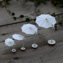 White Sun Umbrella Parasol Miniature Fairy Garden Home Houses Decoration Mini Craft Micro Landscaping Decor DIY Accessories
