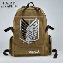 FAIRY SERAPHIM canvas Investigation Corps anime teenagers side zipper pocket student mochila school bag attack on titan backpack(China)