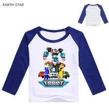2018 T-shirts Girls Boys Kids Tobox Robot T Shirts Baby Long Sleeve Tees Children Cotton Fashion Ninjago Tops 1-8 Yrs
