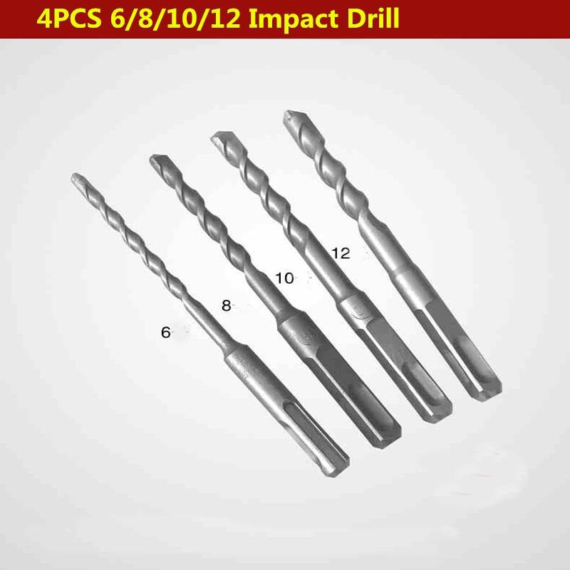 4PCS 6/8/10/12mm 2Pits 2SDS Electric Hammer Drill Bit Set Rotary Hammer Drill Bit For Wall Concrete Brick Block Masonry Hole Saw<br><br>Aliexpress