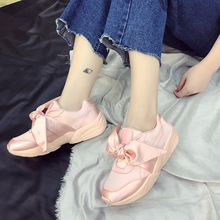 2017 Autumn, Europe And America Big Name, The Same Paragraph Court Wind, Satin Noodles, Bow Knot, Pink Fashion Women's Shoes