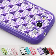 Premium Shiny Bling glitter plaid Gem Diamond Resin TPU shockproof Case For Samsung Galaxy S3 SIII I9300 Back Cover skin shell