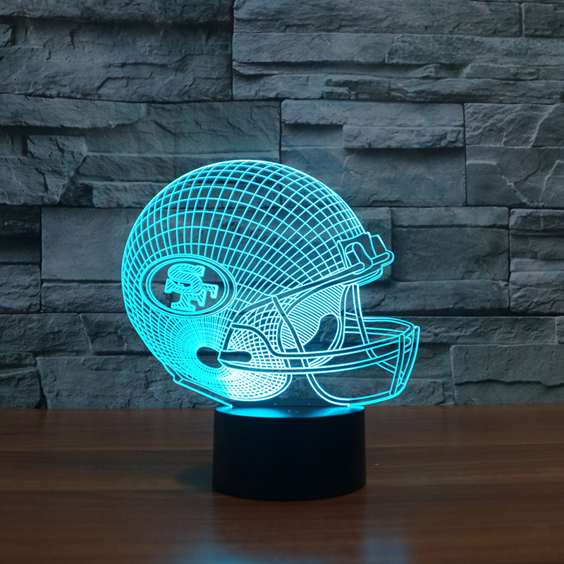NFL Team Logo San Francisco 49ers Helmet Lamp 3D Visual Night Light Touch Button USB Desk Lampara as Besides Light Home Decor<br><br>Aliexpress