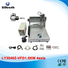 Desktop CNC router 3040 Z-VFD 4axis CNC engraver machine with rotary axis and 1.5KW spindle for metal carving(China)