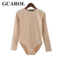 GCAROL 2017 Women Bodysuits Bikini Bottom With Snap Closures Stretch Slim Euro Style Full Sleeve O-Neck Basic Bodysuits(China)