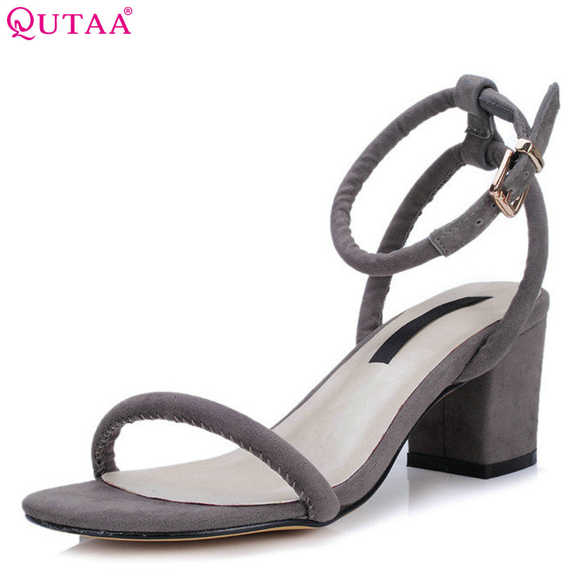 QUTAA 2017 Women Sandal Black Square High Heel Slingback Platform Ankle Strap Genuine Leather Ladies Wedding Shoes Size 34-39<br>