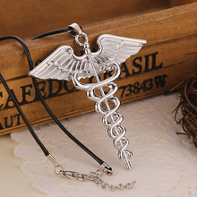 2015 Hot Percy Jackson Angle Wings Magic Wand Vintage Caduceus Pendant Necklace Movie Jewelry