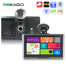 Free Shipping7 inch 1080P Car DVR Recorder MP3 MP4 Player with Android GPS Navigation Support WiFi 3G FM Transmitter Google Maps