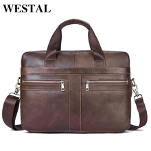 WESTAL Men Bags Briefcases Genuine Leather Men's Messenger Bag Cowhide Leather Laptop Crossbody Handbag Male Business Bag 2019(China)