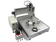 LY CNC 6090 Z-VFD 1.5KW 4 axis engraving machine metal Wood PCB drilling router(China)