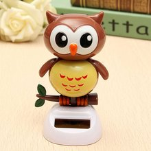 Solar Powered Owl Dancing Flip Flap Swinging Shook His Head For Car Decoration Lovely Dancing Owl Solar Powered Energy Toys(China)