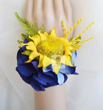 5Pcs/set New Style wedding party prom mother bridesmaid bridal hand Wrist flower Yellow sunflower blue Hydrangea women corsage