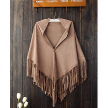 Luna&Dolphin Autumn Winter Women Suede Shawl Tassel Scarf Pure Color Boheimia Hijab Spain Vintage Big Stole High Quality