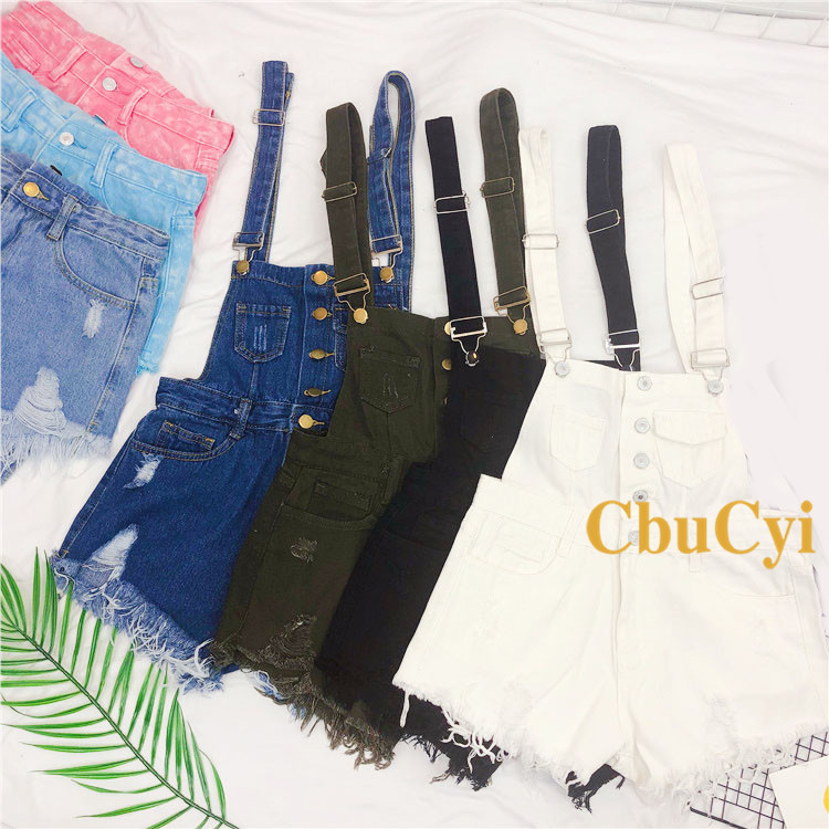 Denim Bibs Schoolgirl 2018 Spring New Loose Korean Thin Thin hole Flashes Fringe Shorts (7)