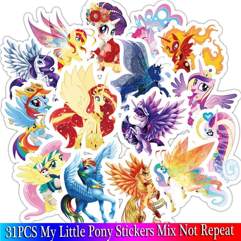 31PCS Kid Toy Anime Stickers Set For Children Travel Case Bicycle Fridge Laptop Cute Cartoon Sticker Little Pony Sticker (6)